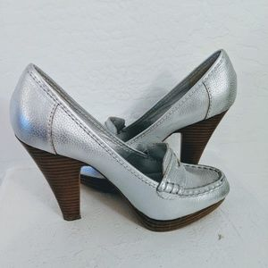 Steve Madden silver penny loafer shoes